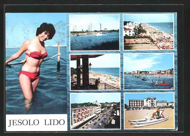 AK-Lido-di-Jesolo-Schoene-Italienerin-im-Bikini-Blick-auf-den-Strand